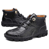 Men Cow Leather Hand Stitching Ankle Boots