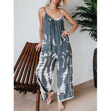 Blooming Straps Striped Jumpsuit