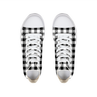 Black and White Plaid Hightop Canvas Shoe