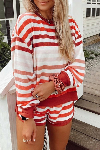 Red White Gradient Stripes Home Casual Short Set