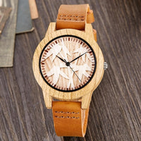 Creative Wood Watch Men Women Couple Quartz Imitation Bamboo Wooden Watch Animal Watches Brown Leather Skull Wrist Clock Reloj