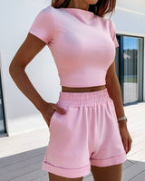 Hirigin 2 Piece Set Women Summer O-Neck Casual Crop Top 2020 Female Clothing Tracksuit Pockets Loose Shorts Two Piece