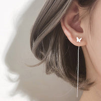 Long Tassel Butterfly Drop Earrings Silver Color 2020 Fashion Hanging Women Earrings Summer Jewelry Girls GIfts