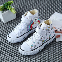 Canvas Children's Shoes Cartoon Graffiti Children's Sneakers Rainbow Casual Shoes for Girls Comfortable Kids Flats Tenis Infanti