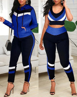 Colorblock Crop Top & High Waist Pants & Hooded Coat Set Casual Women 3 Piece Set Outfits