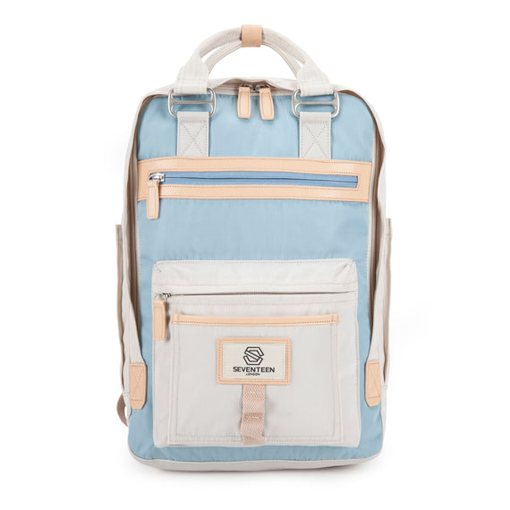 Wimbledon Backpack - Cream with Light Blue