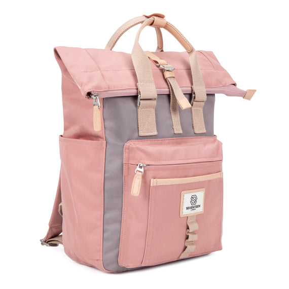 Canary Wharf Backpack - Pink with Grey