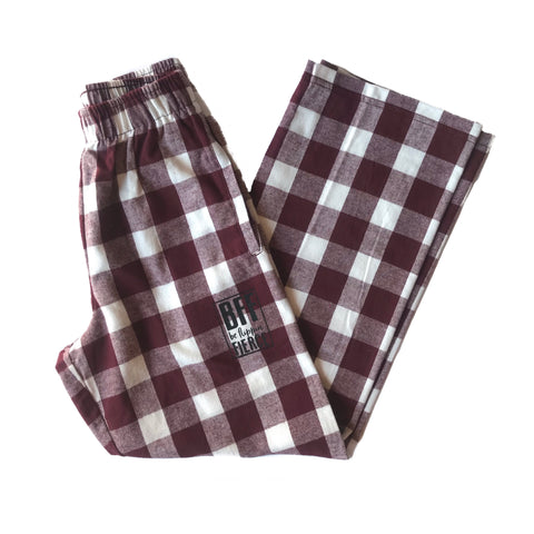 Lounge BFF Logo Pants - Maroon Buffalo Plaid