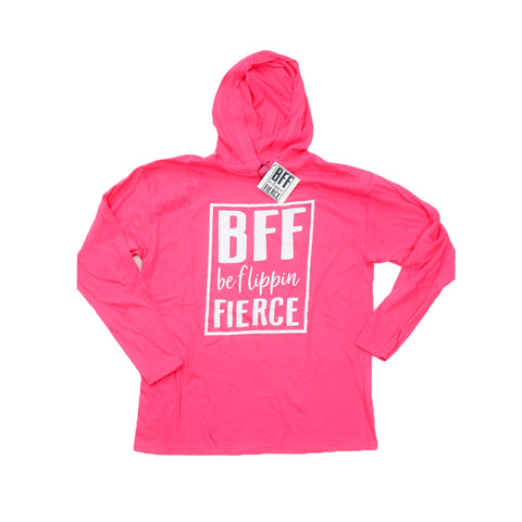 Be Flippin Fierce™️ Youth Hooded T in Hot Pink