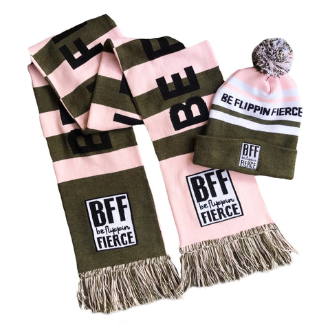 BFF Pom-Striped Beanie