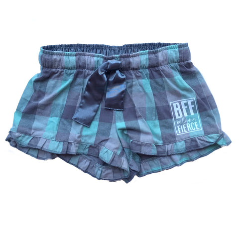 Lounge BFF Logo Shorts - Mint/Grey Plaid