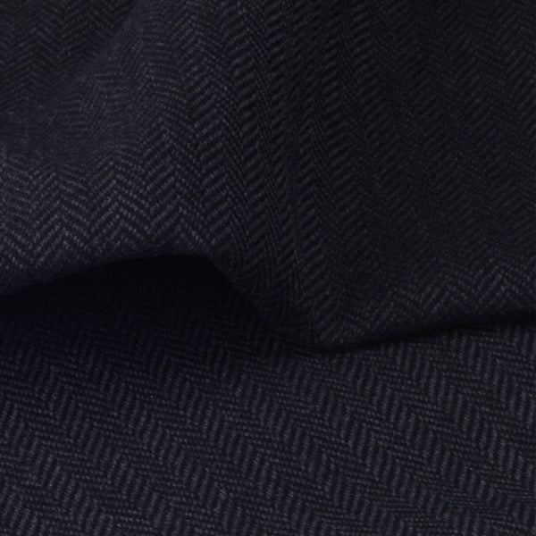 Dark Grey and Black Herringbone Weave Wool