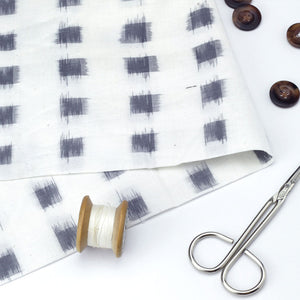 Grey and Ivory Ikat