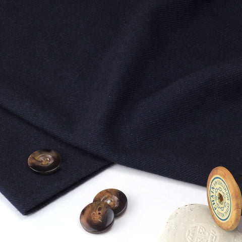 Twill Weave Navy Brushed Cotton