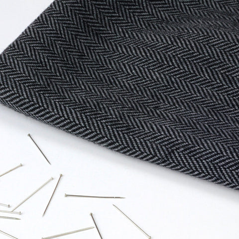 Pale Grey and Black Herringbone Weave Wool