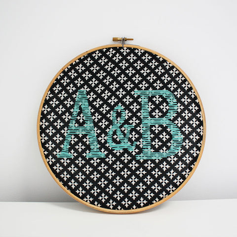 Couple initials handmade embroidered hoop