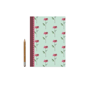 Green and Pink Floral Notebook