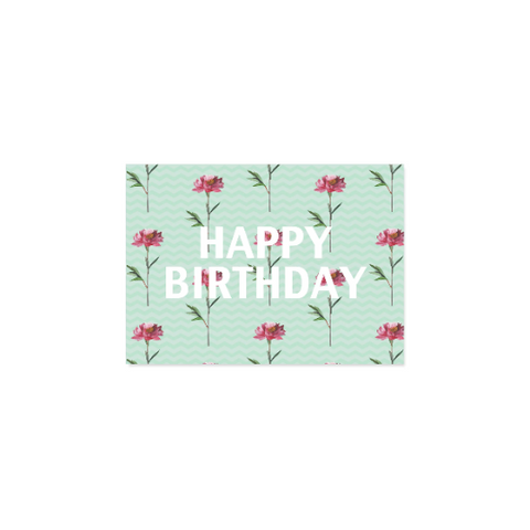 Pink and Green Floral Birthday Card