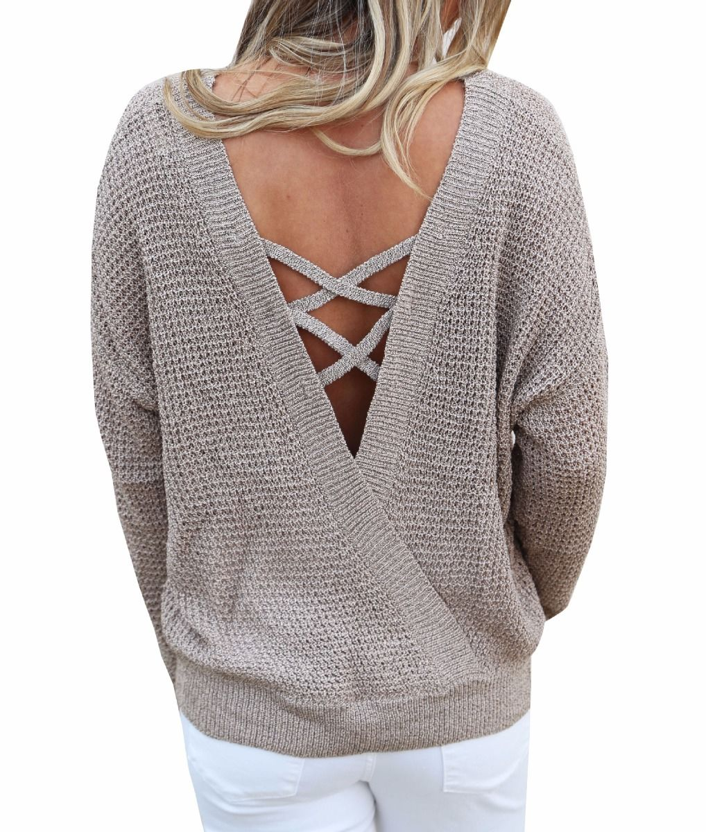 Waffle knit loose sweater-Clearance!