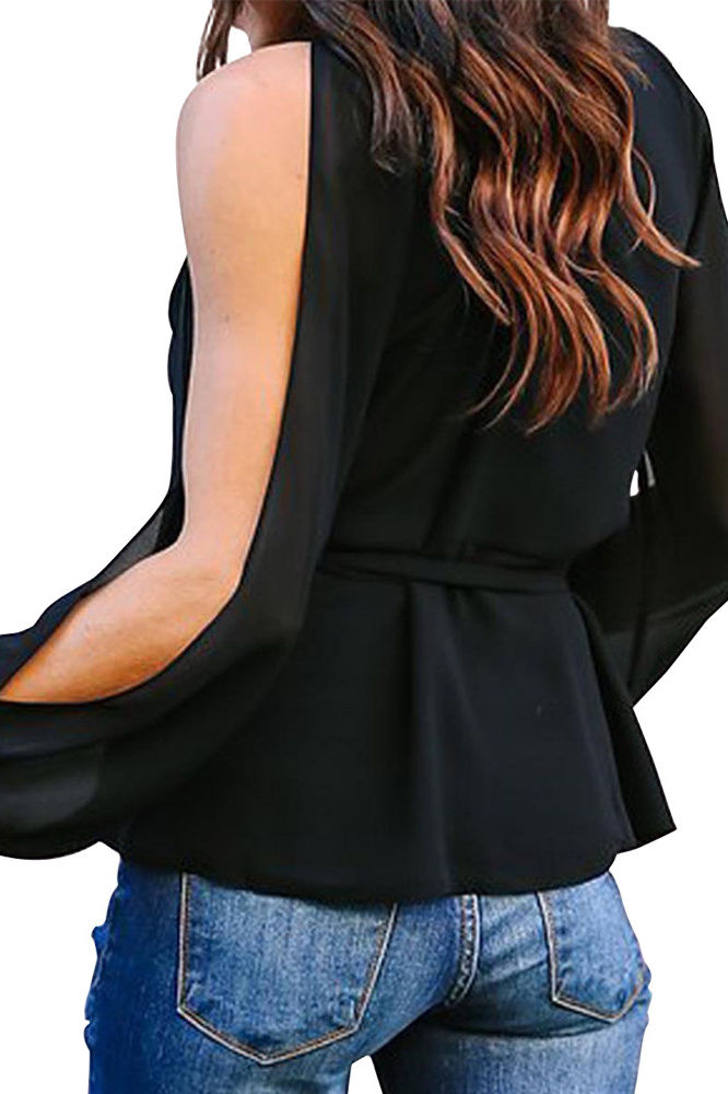 Plus size Open sleeve wrap top