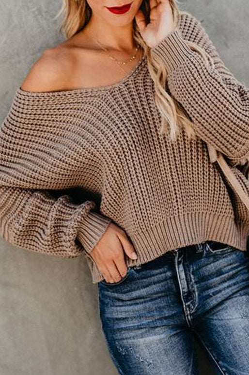Loose ribbed knit sweater-Clearance!