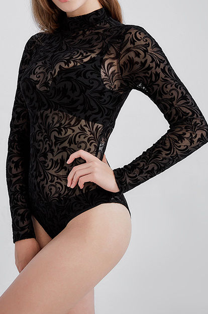 Sheer mock neck Victorian body suit