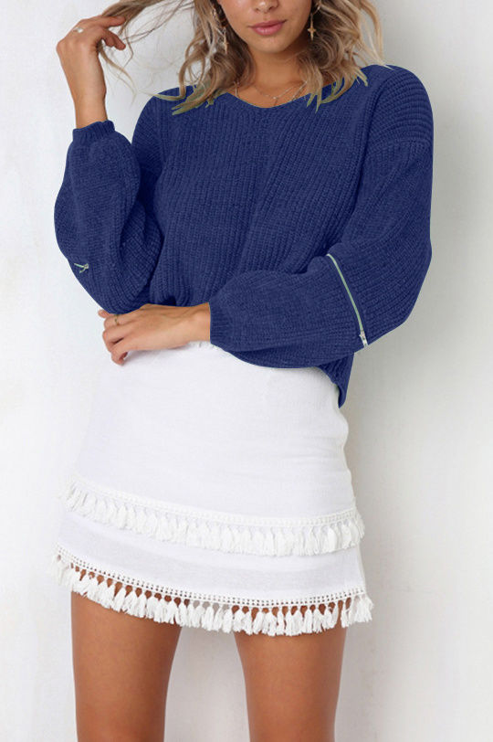 Soft zip sweater-Clearance!