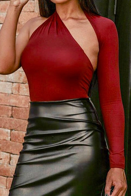 One arm halter body suit