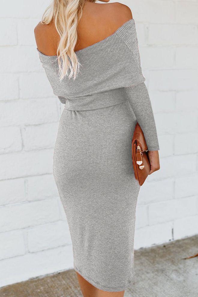 Off the shoulder midi dress-Clearance!