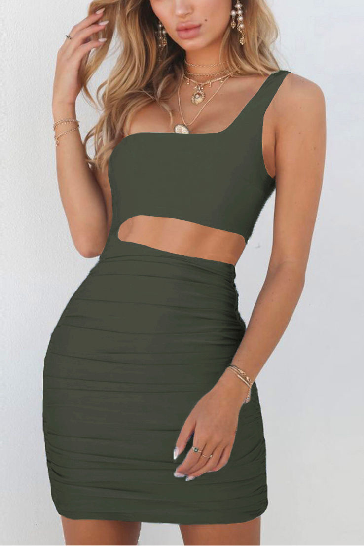 One shoulder cut out mini dress-More colors!