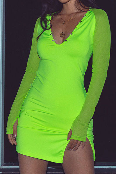 Long sleeve Neon mini dress