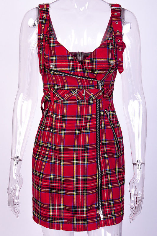 Plaid summer moto dress