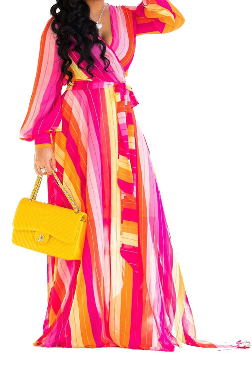 Plus Size Candy stripe wrap maxi dress