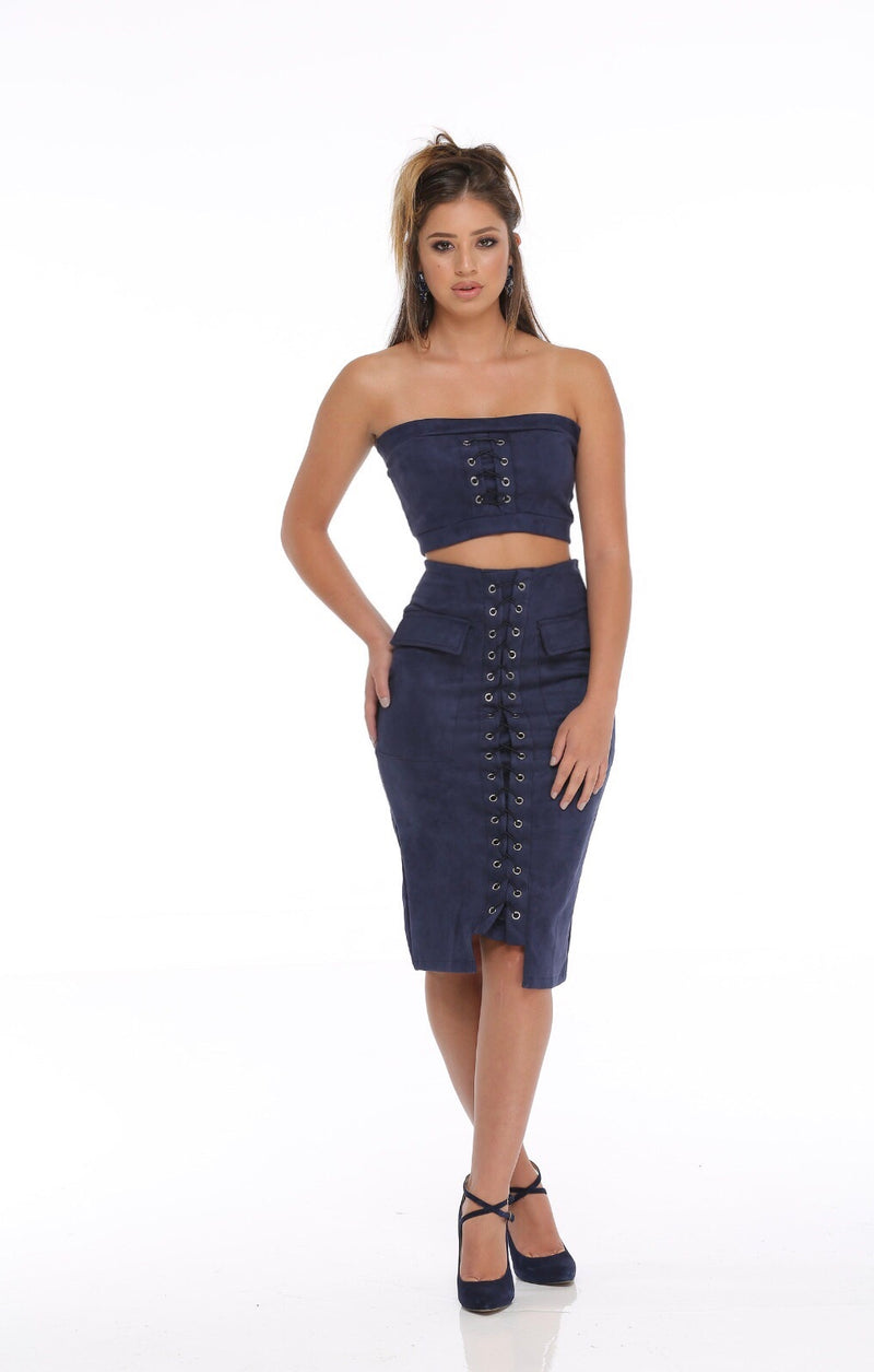 2 piece suede midi skirt-Clearance!