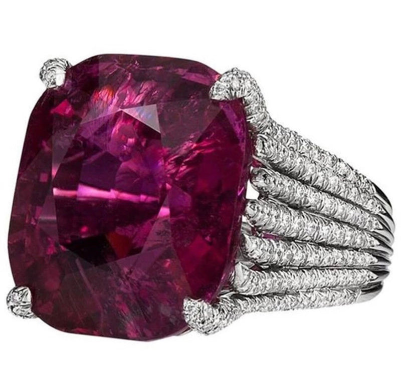 Fuchsia claw cocktail ring