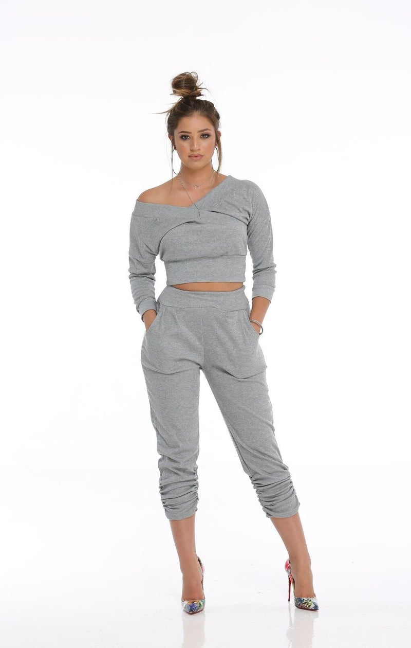 2 piece sweat crop set