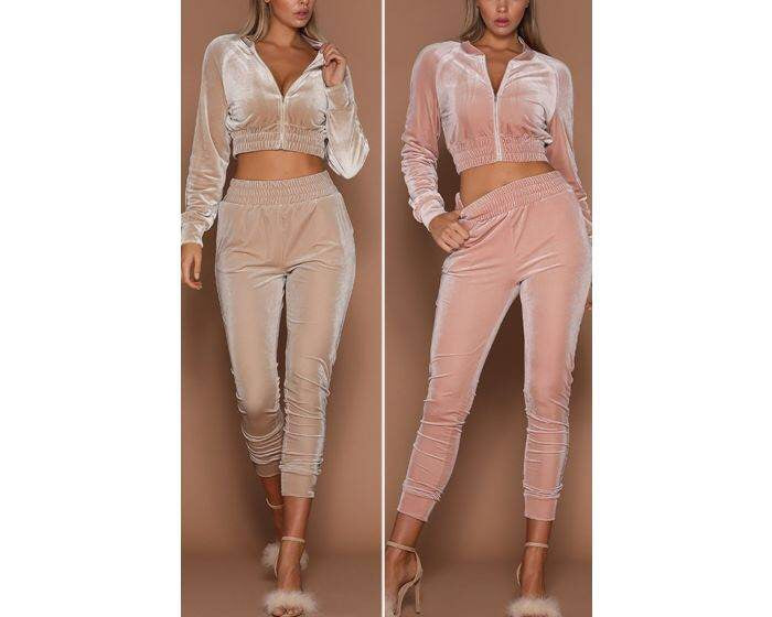 Velour 2 piece crop set-More colors!