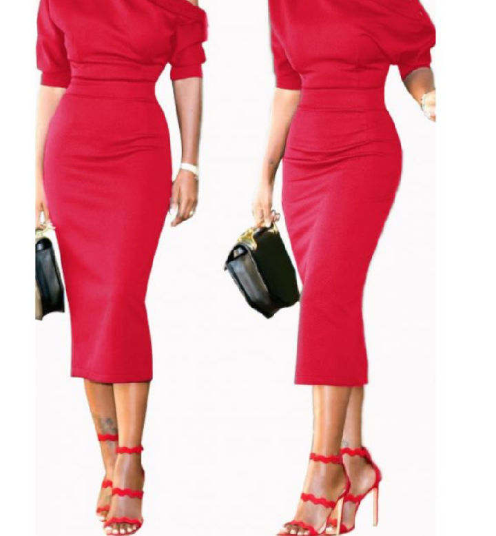 Button shoulder midi dress-clearance!