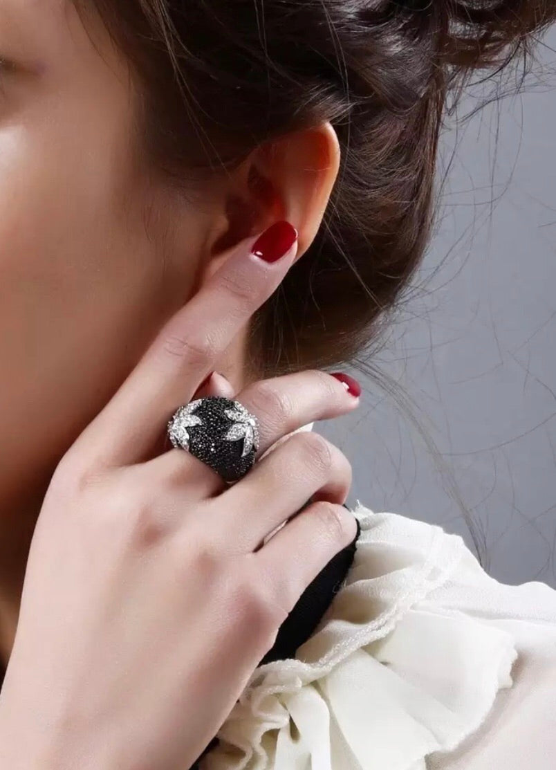 Black beauty cocktail ring
