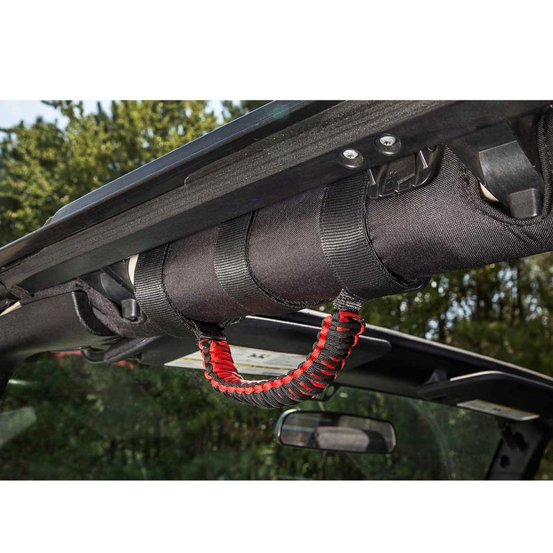 Jeep Rugged Ridge Paracord Grab Handles, Red And Black, Pair, Interior Car Parts | 1955-2017, 13505.31