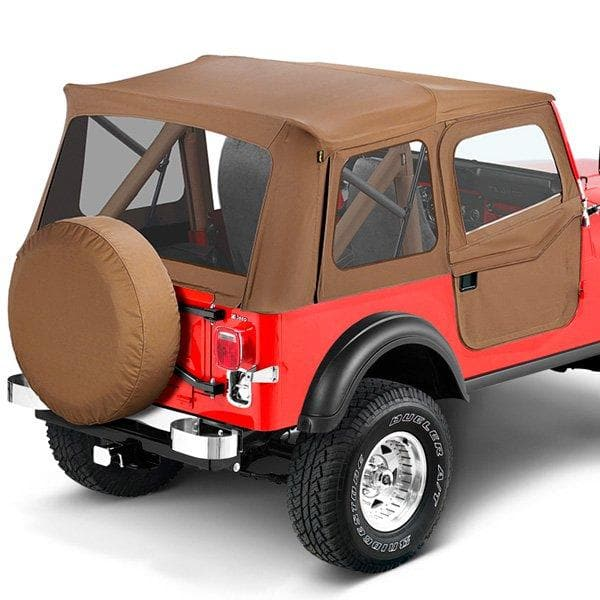 Jeep Bestop Supertop Soft Top With Rear Windows And Clear 2-Piece Soft Doors, Complete Soft Top, Tan | 1976-1983 CJ5, 51597-04
