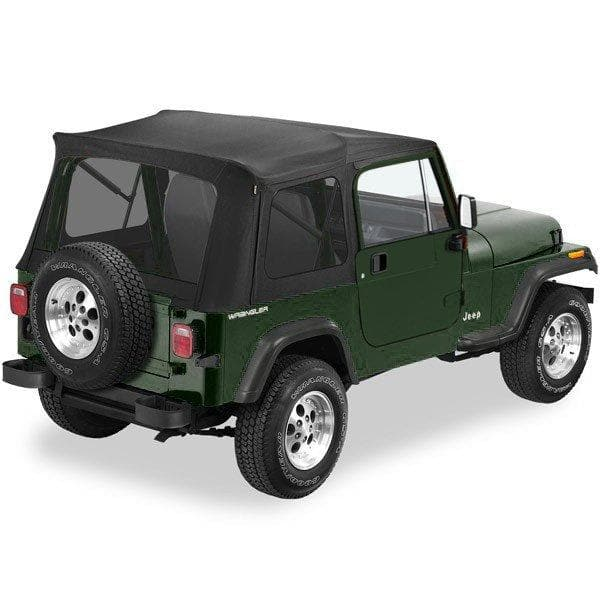 Bestop Supertop With Tinted Rear Windows, Complete Soft Top, Fits Full Steel Doors, Black Denim | 1976-1995 Wrangler YJ & CJ7, 54599-15