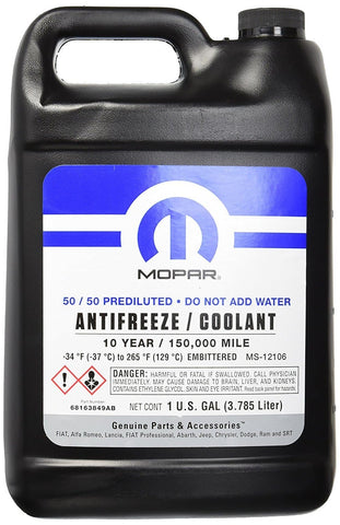 Mopar Antifreeze/coolant, 150,000 Mile Oat Formula, 50/50 Prediluted, 1 Gallon, 68163849AB-M