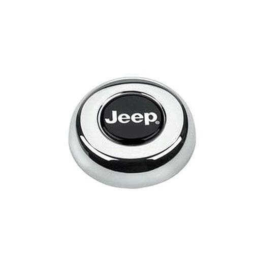 Jeep Grant Horn Button For Classic Or Challenger Series Steering Wheels, Chrome With Black Logo, Interior Car Parts, Wheel Parts | For Grant Classic