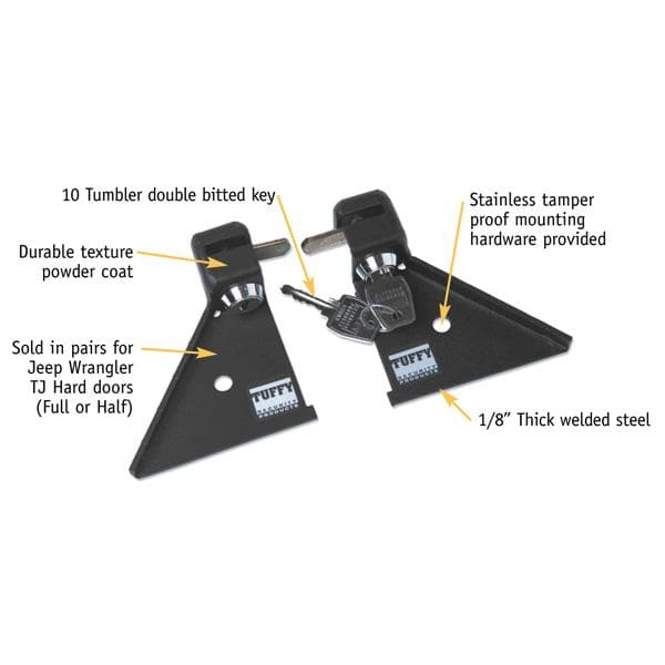 Jeep Tuffy Security Products Security Door Lockers Black | 1997-2006 Wrangler TJ & Unlimited TJL, 043-01