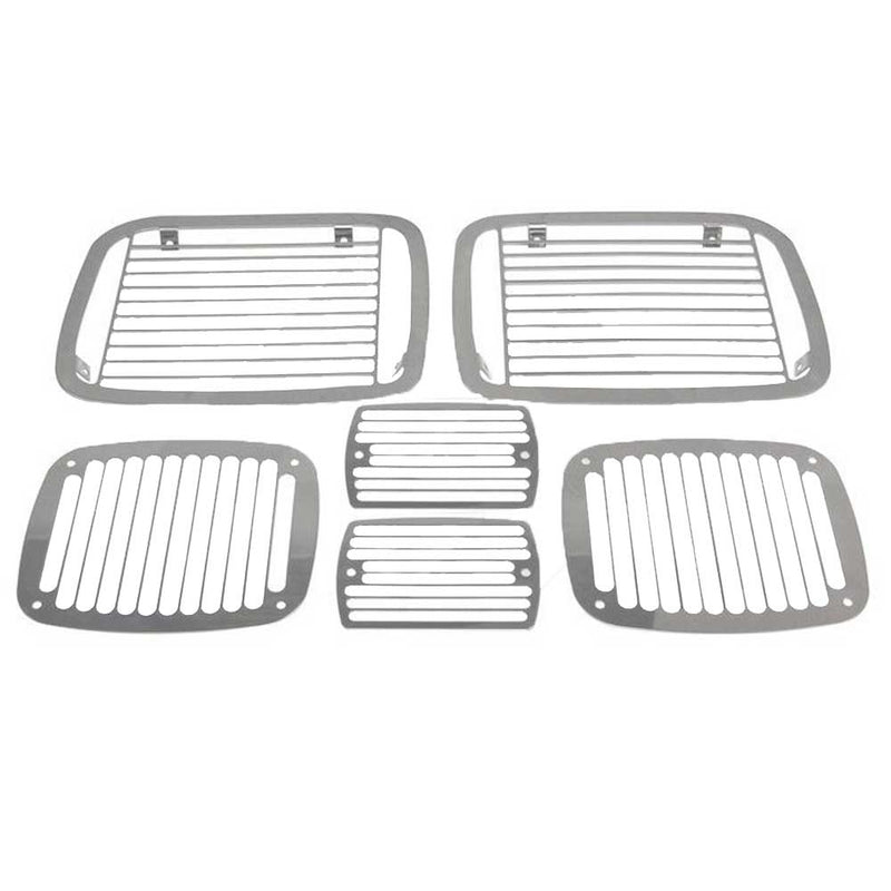 Jeep Rt Off-Road Stone Guard Set, Billet Style, Stainless Steel, Exterior Car Parts | 1987-1995 Wrangler YJ, RT34048