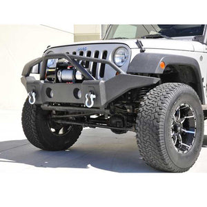 Dv8 Off-Road Full Length Front Bumper, Steel, Textured Black, Exterior Car Parts | 2007-2017 Wrangler JK and Wrangler Unlimited JK,