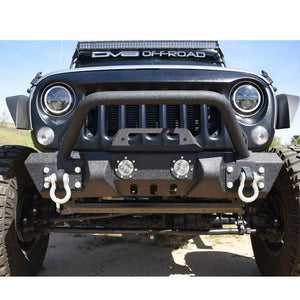 Dv8 Off-Road Mid Width Front Bumper With Led Lights, Steel, Textured Black, Exterior Car Parts | 2007-2017 Wrangler JK and Wrangler Unlimited