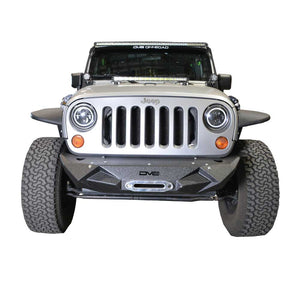 Dv8 Off-Road Stubby Front Bumper With Light Bracket & Winch Plate, Steel, Textured Black, Exterior Car Parts | 2007-2017 Wrangler JK and