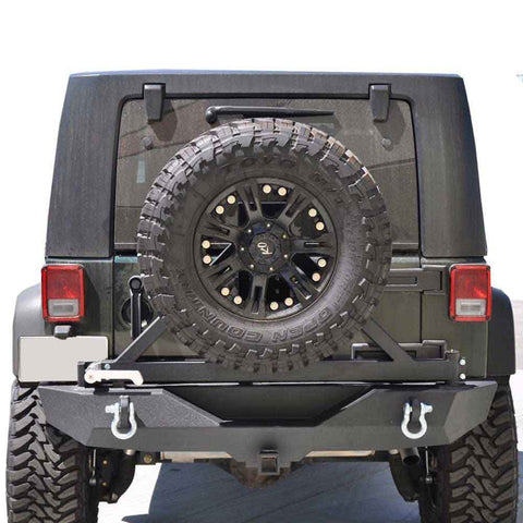 Dv8 Off-Road Full Width Rear Bumper With Tire Carrier, Aluminum Handle, Steel, Textured Black, Exterior Car Parts | 2007-2017 Wrangler JK and